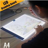 arte de la tableta al por mayor-Tableta gráfica digital A4 LED Artista gráfico Arte fino Plantilla Tablero de dibujo Caja de luz Cuadro de trazado Tablero de dibujo Tabletas gráficas de dibujo
