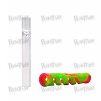 Wholesale silicone hoses resale online - New Arrive Glass FDA Silicone One Hitter Pipes Tobacco Smoking Herb Pipe Hose MM Cigarette Holder Dugout Tobacco Herb Pipes Accessories