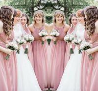 halter geraffte chiffon brautkleid großhandel-Sexy Blush Pink Brautjungfernkleider 2019 Neckholder geraffte ärmellose Kristallperlen Chiffon Schärpen lange Partykleider Hochzeitsgast Kleid