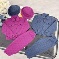 Wholesale baby denim hats resale online - Girls boys Denim Jackets Kids Long Sleeved Denim Jackets trousers hats for Girl Baby Embroidered Denim Coat Clothing Spring Summer Fashion