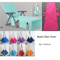Wholesale chair towels resale online - Portable Beach Chair Cover Beach Towel Microfiber Pool Lounge Chair Cover Blankets With Strap Beach Towels Double Layer Blanket MMA2262