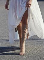 босоножки в стиле римского стиля оптовых-Горячая распродажа-лето сексуальные гладиаторские босоножки на высоком каблуке из замши на тонких каблуках Boho Style Cut Out римские ботинки для танцев для танцев черного цвета