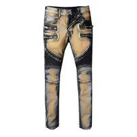 ingrosso jeans marroni marroni per gli uomini-Jeans aderenti strappati da uomo Jeans skinny Fashion Designer Slim Pantaloni da equitazione da moto Jeans da uomo Hip Hop Light Brown da uomo 5