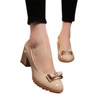 kelebek yüksek topuk ayakkabıları toptan satış-Youyedian Kadınlar Yüksek Topuklu Parti Bayanlar Moda Kelebek Düğüm Yuvarlak Ayak Rahat Loafer Deri Tek Ayakkabı Dames Schoenen # g25