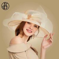 9b0e7de702dab7 FS Elegant Women Summer Wide Brim Sun Hats For Women Large Hat Ladies  Floppy Big Bow Fedora