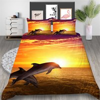 Wholesale 3d bedding set dolphins resale online - Dolphin Printed Bedding Set Queen D Sunset Glow Duvet Cover King Beautiful Home Deco Double Single Bed Cover with Pillowcase