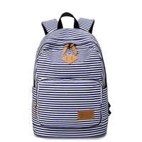 ingrosso zaini per computer signore-Preppy Bagpack Female Canvas Striped Printing Backpack Women Computer Back Pack Lady School Bags For Teenagers Girls Mochilas