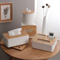 ingrosso supporto porta scatola di legno-Casa Cucina Scatola di tessuto di plastica in legno Portatovagliolo in legno massello Semplice elegante