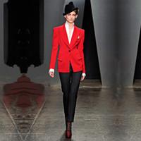 jaqueta de uniforme vermelho feminino venda por atacado-Mulheres Buisnes Pant Ternos Casaco Vermelho Calças Pretas Moda de Manga Longa Senhoras Calças Terno Escritório Feminino Uniforme 2 Peça Blazers
