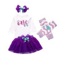bir pleat bebek kıyafeti toptan satış-Yeni Bebek Kız Romper Tişört Pileli Etek One yaşında Doğum Elbise Kıyafetleri Tops