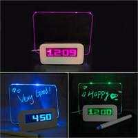 floresan mesaj panosu saati toptan satış-Floresan Mesaj Panosu Saat Alarm Sıcaklık Takvim Zamanlayıcı USB Hub Yeşil Işık LED Dijital Masaüstü Yönetmeni Masa Saatleri