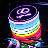 iluminación lexus al por mayor-Car LED logo de la Copa Pad Holder 7 colores que cambian de carga USB Mat Copa LED de la estera del coche de la lámpara Ambiente luces de la decoración 2 piezas para Lexus Accesorios