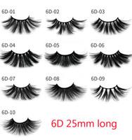 ingrosso ciglia di volume 6d-Visone 3D 25mm ciglia 100% Volume Capelli lunghi naturali 6D 25 mm Estensione ciglia finte Eye Lash finte Makeup Visone Ciglia