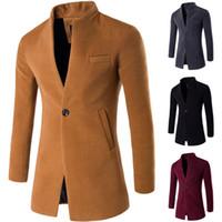 erkek kış uzun palto yün toptan satış-ZOGAA 2019 Yün Ceket Erkekler Kış Uzun Ceket İnce Hırka Rüzgarlık Bir Düğme Mandarin Yaka Rahat Yün Erkekler Palto