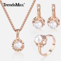 ensemble de pendentifs bijoux de perles achat en gros de-Ensemble de bijoux pour femmes filles 585 or rose perle boucles d'oreilles bague pendentif collier ensemble mode femme bijoux en gros cadeaux KGE142