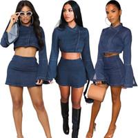 shirts mangas compridas inchadas venda por atacado-Azul Denim shirt Sets Fashion Girls Senhora inchado mangas compridas O pescoço curto superior e mini-saia Casual Roupas de alta qualidade fotos reais