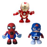 mini oyuncak robotları toptan satış-DANCE KAHRAMAN Dans Robotları-Mini Dans Demir Adam Marvel Parmaklar Avengers Oyuncaklar, Dans Robot Aydınlatma Elektrikli Müzik Oyuncak