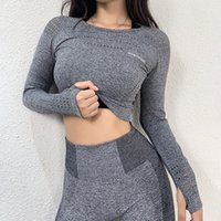 Wholesale women tight yoga pants stretching for sale - Group buy SALSPOR Seamless Gym Crop Tops Women Long Sleeve Sport Shirts Hollow Out Stretch Tight Yoga Fitness Top Running Sportswear