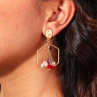 ingrosso orecchini di corallo rosso perlato-Oro semplice barocco Metallo opaco Pietra naturale Corallo rosso Geometria Fiore Orecchini di perle d'acqua dolce naturale per donna Ragazza