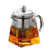 tapas de tetera al por mayor-Tetera de vidrio preferida con infusor de acero inoxidable y tapa para la venta directa de la fábrica de té floreciente y de hojas sueltas