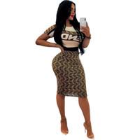 совок шеи кардиган оптовых-Женское платье из двух частей F Words Печатные рубашки с коротким рукавом Узкая юбка Sexy Club Женские наборы из двух частей