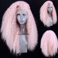 rizado pelucas mujeres blancas al por mayor-Parte libre de alta temperatura de fibra larga y rizada peluca de encaje 360 Rosa peluca delantera del cordón sintético para negro / blanco mujeres Cosplay
