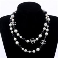 broche del collar de las mujeres al por mayor-2019 NUEVO Collar de moda para mujer Collar de perlas naturales Suéter Collar de diamantes de múltiples capas Importación Broche de cristal Joyería nupcial Joyería