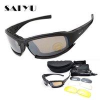 airsoft schutzbrillenlinse großhandel-SAIYU X7 Military Goggles Kugelsichere Armee C6 Polarisierte Sonnenbrille 4 Objektiv Jagd Schießen Airsoft Radfahren Motorrad Brille