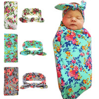 bebek hamamları yenidoğanlar için toptan satış-2 adet / takım Pamuk Yenidoğan Bebek Kundak Battaniye Tavşan Kulakları Bantlar Set Bebek Uyku Battaniye Bebek Banyo Wrap Havlu Ücretsiz Dhl