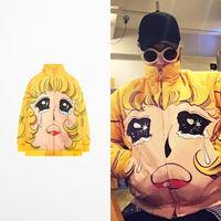 Wholesale wool strips resale online - Fashion Design Tide Brand Men And Women Bieber Men s Winter Coats Skateboard High Street Cartoon Print Baseball Jacket Men Bts