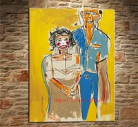 retratos modernos venda por atacado-Retrato-de-erva-e-lenore, Pintura em tela Sala de estar Home Decor Modern Mural Art Oil Painting # 05