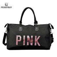 ingrosso sacchetti sportivi delle signore dentellare-2019 signore nero borsa da viaggio paillettes rosa borsa a tracolla borsa delle donne signore weekend sport portatile borsone impermeabile bolsos # 244457