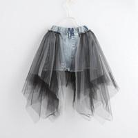 denim-spitzenkleidung großhandel-Sommer neue spitze Mädchen Röcke prinzessin denim A-Line Kinder Rock jeans Bleistift Röcke kinder designer kleidung kinder kleid mädchen kleidung A4442