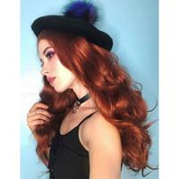 perucas ruivas longas encaracoladas vermelhas venda por atacado-Calor de longo ondulado Auburn Perucas Curly Ginger Wig Perucas Mulheres cabelo sintético Fox Red Ladies laranja Curly onduladas resistente Copper Red Cosplay Wigs