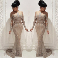 Wholesale sparkled dresses resale online - Sparkle Bling Sequined Crystals Evening Dresses Sheath Mermaid Arabic Long Sleeve Sheer Neck Party Gowns Illusion Bodice Pageant Wear BC0635