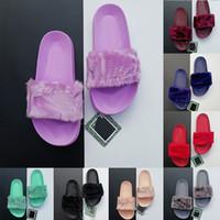 Wholesale ladies suede slippers resale online - Rihanna Leadcat Suede Faux Fur Designer Slippers Womens Fashion Sandals Luxury Wide Flat Slippery Ladies Girls Slides Flip Flop Slippery