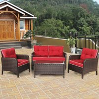 outdoor rattan sets toptan satış-4 ADET Açık Patio Rattan Hasır Mobilya Seti Kanepe Loveseat W / Kırmızı Yastık Yeni