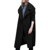 mulheres de malharia de qualidade venda por atacado-Design de moda de Alta Qualidade Das Mulheres Inverno Lapela De Lã Casaco de Jaqueta Botão Trench Solto Plus Casaco Outwear Casaco Mulheres Inverno