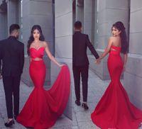vestidos de noite vermelhos ajustados venda por atacado-2019 New Sexy Red Sereia Vestidos de Baile Longo Querida plissados Frente Aberta Cocktail Fit Alargamento Vestido Desgaste da Noite Lados Cutaway Vestidos de Festa