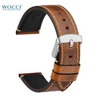 klasik deri saat kayışları toptan satış-WOCCI Watch Band 18mm 20mm 22mm 24mm Erkekler Için Deri İzle Sapanlar Vintage Stil Kol Bilezik bilek Kemer