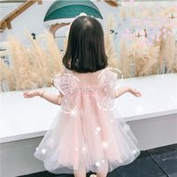 Wholesale pink angel baby clothes resale online - Yoliyolei Summer Girls Dress Angel Design Vestidos Princess Clothes Elastic Top Kids Dresses Baby Casual children Gauze Clothing