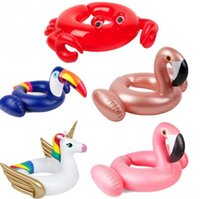 Wholesale ring open toy online - Open Fork Floats Kids Flamingo Float Swimming Ring Baby Life Buoy Crab Unicorn Floating Ring Flamingo Pools Air inflation toy CCA11536