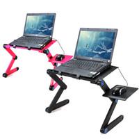 tragbare laptophalter großhandel-Tragbare 360 klappbare Laptop Schreibtisch Computertisch 2 Löcher Kühlung Laptop Ständer Schreibtisch Halter mit Mauspad Notebook Tisch für Bett