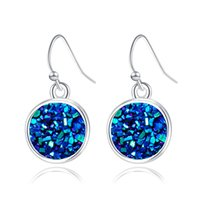 Wholesale Newest Design Crystal Cluster Love Earrings Exquisite Ladies Silver Round Natural Stone Earrings Christmas Gift Elegant Women Ear Dangles