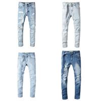 kazık atmak toptan satış-2019 Toptan Beyaz pantolon Jeanes tasarımcı pantolon düz kapalı sıska mazgal kot erkekler beyaz jean yırtık