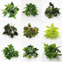 kapalı plastik bitkiler toptan satış-Yapay Yeşil Bitkiler Kapalı Açık Sahte Plastik Yaprak Yeşillik Bush Ev Ofis Bahçe Çiçek Parti Dekorasyon