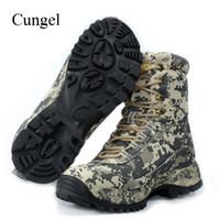 botas de camuflaje al por mayor-Cungel zapatos de senderismo al aire libre hombres de camuflaje impermeables botas de caza Desierto militar botas de combate escalada de montaña # 45044