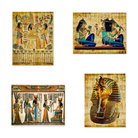 ingrosso arte di parete egiziana-Egitto Wall Art Canvas Poster Pergamena Stile carta Vecchio antico Poster Stampe Retro egiziano Picture Wall Decor King Tut Queen