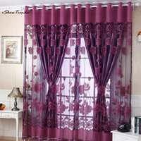 Wholesale red printed curtains resale online - 2017 New Arrival cmx100cm Print Floral Voile Door Curtain Romantic Bedroom Cheap Window Room Curtain Divider Scarf New