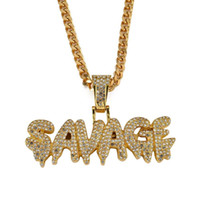 Wholesale stainless steel necklace for two for sale - Group buy hip hop SAVAGE diamonds pendant necklaces for men women luxury letters necklace Cuban link chains jewelry two colors golden silver